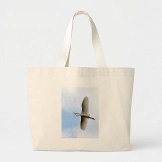 Great Egret in Flight Large Tote Bag