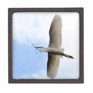 Great Egret in Flight Premium Trinket Box