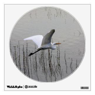 Great Egret in flight Wall Sticker