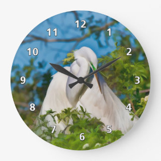 Great Egret in Motherhood Moment Large Clock