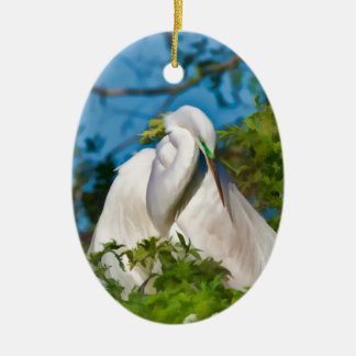 Great Egret in Motherhood Moment Christmas Ornament