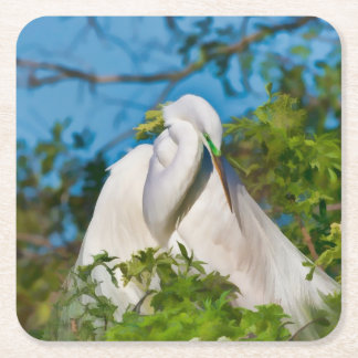 Great Egret in Motherhood Moment Square Paper Coaster