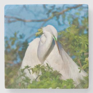 Great Egret in Motherhood Moment Stone Coaster
