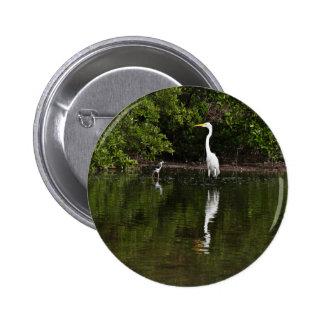 Great Egret In Water 2 Inch Round Button