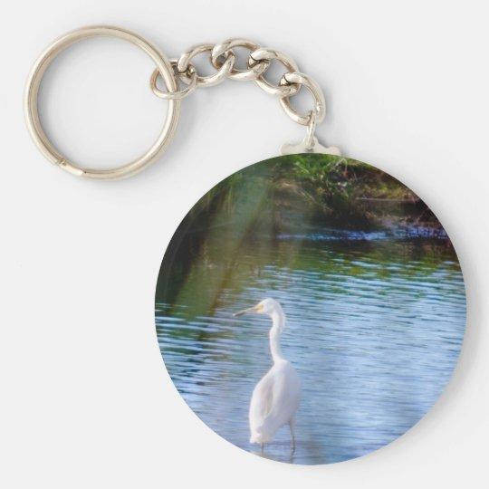 Great egret in wetlands keychain