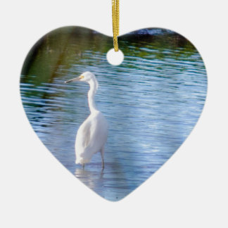 Great egret in wetlands Double-Sided heart ceramic christmas ornament