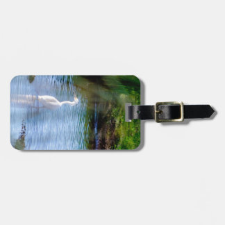 Great egret in wetlands tag for luggage