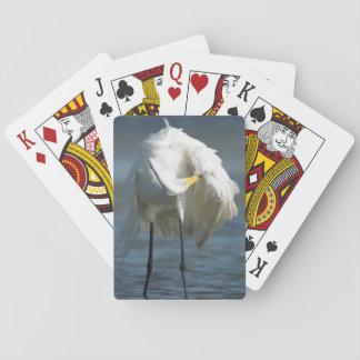 Great Egret preening on the beach. Card Deck