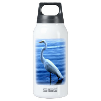 Great Egret Standing Tall Thermos Water Bottle