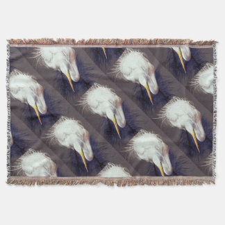Great Egret Throw Blanket