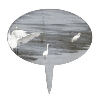 Great Egrets in a swamp Cake Topper