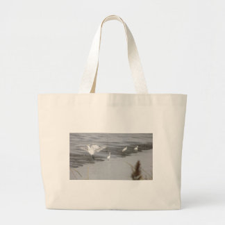 Great Egrets in a swamp Large Tote Bag