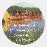 Great Explorers by Remington, Vintage Frontiersmen Classic Round Sticker