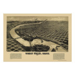 Great Falls, MT Panoramic Map - 1891 Poster