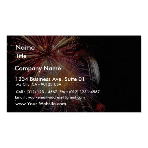 Great Fireworks Night Double Sided Standard Business Cards