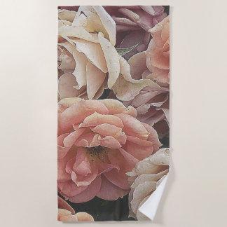great garden roses, beach towel