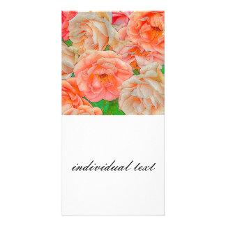great garden roses, orange photo card