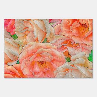 great garden roses, orange signs