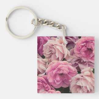 great garden roses pink Double-Sided square acrylic keychain