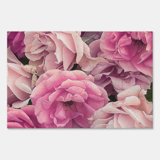 great garden roses pink lawn sign