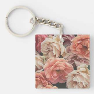 great garden roses, soft peach Double-Sided square acrylic keychain