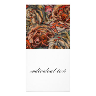 Great garden roses with silverdust,red photo card