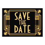 Great Gatsby 1920s Art Deco Wedding Save the Date Card