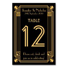 Great Gatsby 1920s Art Deco Wedding Table Number Card at Zazzle