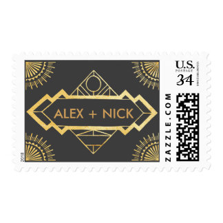 Great Gatsby 1920s Black & Gold Wedding Postage