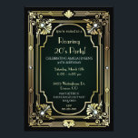 """Great Gatsby 30th Birthday Invitation<br><div class=""""desc"""">Throw a stunning Roaring 20's party with our Great Gatsby Invitations. Perfect for a speakeasy celebration with a black background and beautiful gold art deco accents and jewel look stones. It will make your Great Gatsby party one to remember. Customize with your choice of wording. Find matching Gatsby stationery and...</div>"""