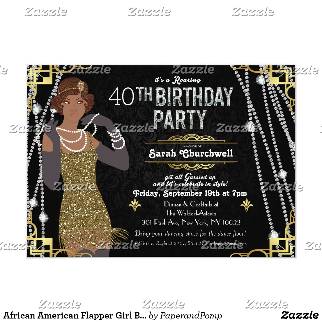 1920s Great Gatsby Art Deco Birthday Invitations Retro Invites