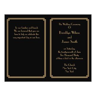 Great Gatsby Art Deco Black Gold Wedding Programs
