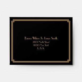 Great Gatsby Art Deco Black Wedding RSVP Envelopes
