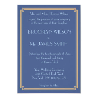 Great Gatsby Art Deco Blue And Gold Wedding Invite