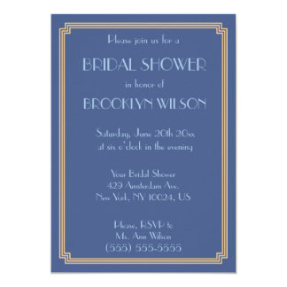 Great Gatsby Art Deco Blue Bridal Shower Invites