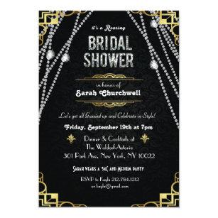 great gatsby art deco bridal shower invitation