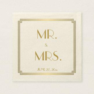 Great Gatsby Art Deco Ecru White Wedding Napkins
