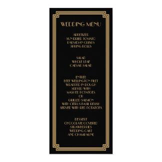Great Gatsby Art Deco Gold Black Wedding Menu Card