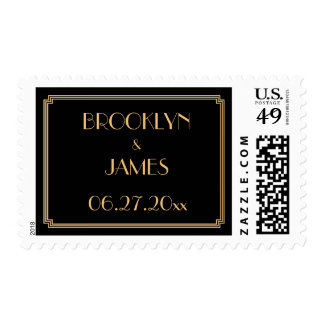 Great Gatsby Art Deco Gold Black Wedding Stamps