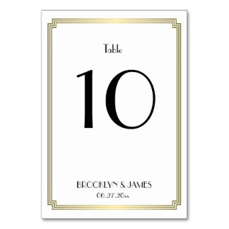 Great Gatsby Art Deco Gold Wedding Table Numbers Card