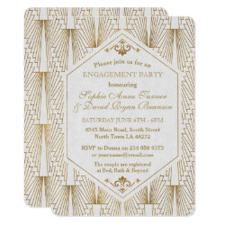 Great Gatsby Art Deco Gold White Engagement Party Invitation