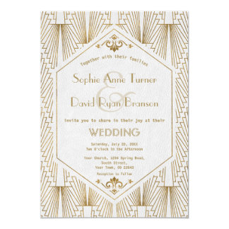 Great Gatsby Art Deco Gold White Wedding Invite