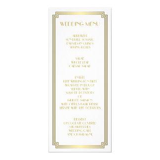 Great Gatsby Art Deco Gold White Wedding Menu Paper Invitation Card