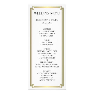 Great Gatsby Art Deco Gold White Wedding Menu Card