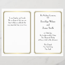 Great Gatsby Art Deco Gold White Wedding Programs