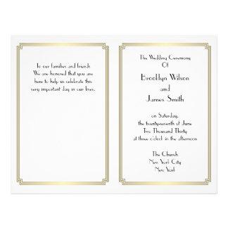 Great Gatsby Art Deco Gold White Wedding Programs