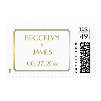 Great Gatsby Art Deco Gold White Wedding Stamps