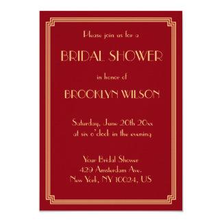 Great Gatsby Art Deco Red Bridal Shower Invitation
