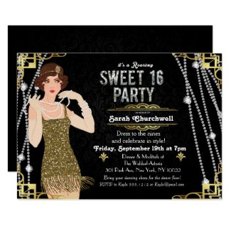 Great Gatsby Art Deco Sweet 16 Birthday Invitation