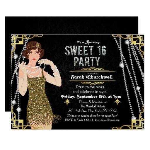 Great Gatsby Art Deco Sweet 16 Birthday Invitation